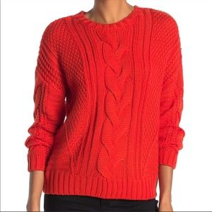One A sweater riot orange cable mixed knit chunky crew neck size XS
